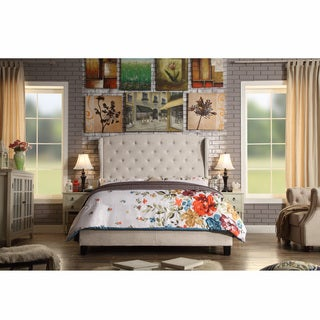 Moser Bay King Size Diamond Wingback Upholstered Bed Set (Option: Textured)