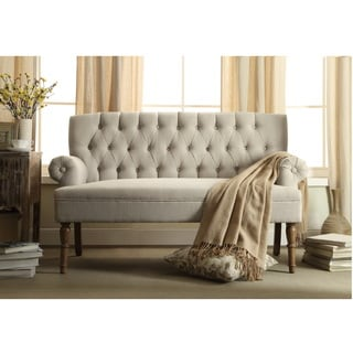 upholstered settee loveseat with tufting back