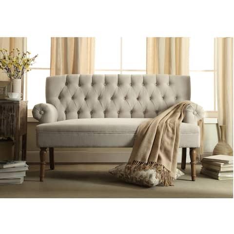 Upholstered Tufted Settee Loveseat