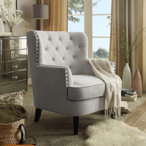 Tufted Upholstered Armchair With Nailhead Trim Free