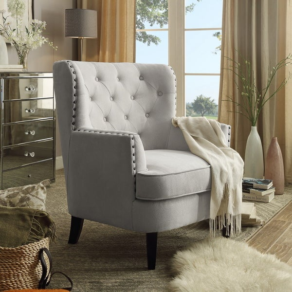 Tufted Upholstered Armchair With Nailhead Trim