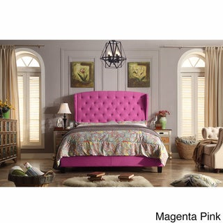Moser Bay Queen Size Diamond Wingback Upholstered Bed Set