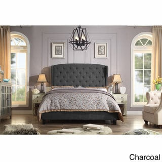 Moser Bay Queen Size Diamond Wingback Upholstered Bed Set (Charcoal)