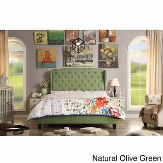 Moser Bay Queen Size Diamond Wingback Upholstered Bed Set (Green)