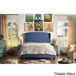 Moser Bay Queen Size Diamond Wingback Upholstered Bed Set (Blue)