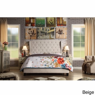 Moser Bay Queen Size Diamond Wingback Upholstered Bed Set (Beige)