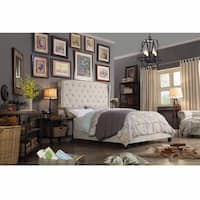 Moser Bay Queen Size Tufted Wingback Upholstered Bed Set