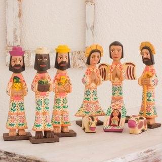Set of 10 Pinewood 'Holy Gifts' Nativity Scene (Guatemala)