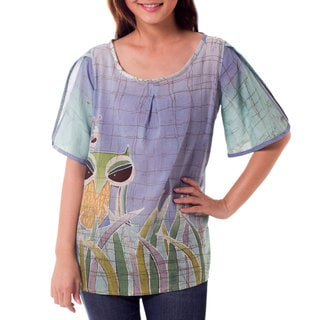 Handcrafted Cotton Batik 'Forest Owl' Blouse (Thailand)
