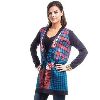 JED Women's Multi Print Knit Oversized Loose Tunic Sweater Cardigan