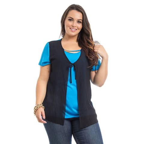 JED Women's Plus Size Cardigan T-Shirt with Necklace