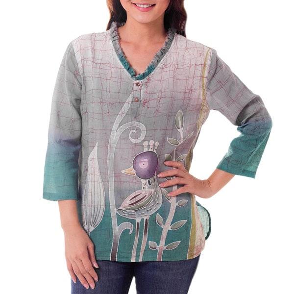 Handmade Cotton Batik 'Purple Bird' Tunic (Thailand)