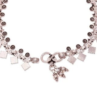 Handmade Sterling Silver 'Starlight Snowflakes' Anklet (India)