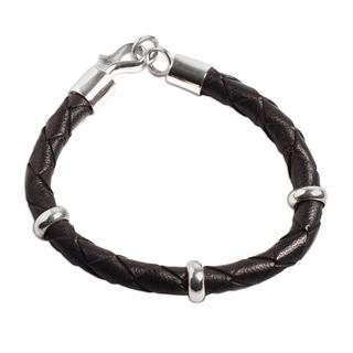 Handmade Men's Leather Sterling Silver 'Bold Black' Bracelet (Peru)