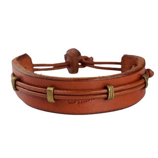 Handcrafted Men's Leather 'Stand Alone in Tan' Bracelet (Ghana)