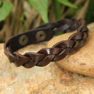 Handcrafted Men's Leather 'Three Rivers' Bracelet (Thailand)