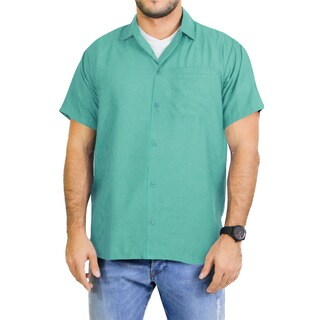 La Leela Men's Blue Rayon Classic Hawaiian Shirt
