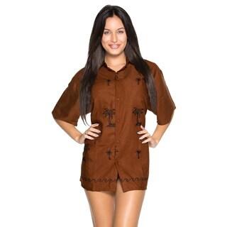 La Leela Women's Rayon Hawaiian Embroidered Tunic Shirt