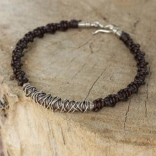 Handmade Men's Leather Silver 'Siam Puzzle' Bracelet (Thailand) https://ak1.ostkcdn.com/images/products/11542776/P18488697.jpg?impolicy=medium