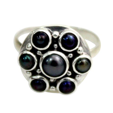 Handmade Sterling Silver 'Black Rose' Pearl Ring (5 mm) (Indonesia)