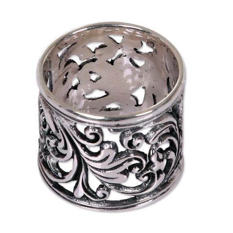 Handmade Sterling Silver 'Tropical Rain Forest' Ring (Indonesia)