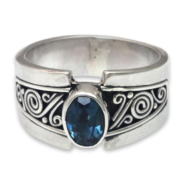 Handmade Sterling Silver 'Blue Karma' Blue Topaz Ring (Indonesia)