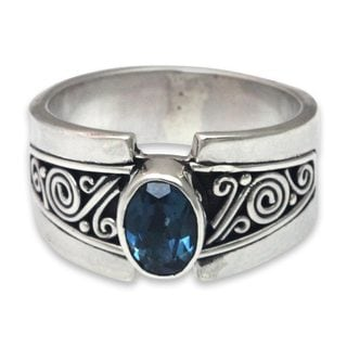Handcrafted Sterling Silver 'Blue Karma' Blue Topaz Ring (Indonesia)