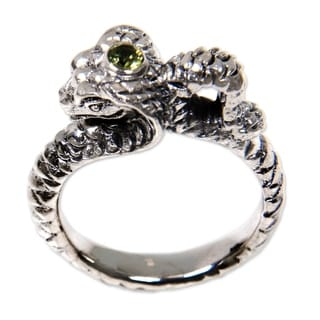 Handcrafted Sterling Silver 'King Cobra' Peridot Ring (Indonesia)