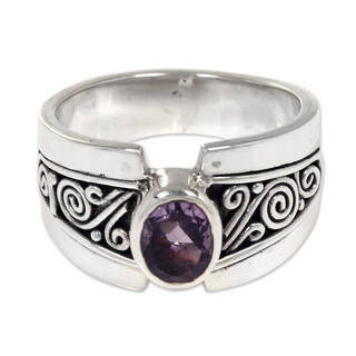 Handcrafted Sterling Silver 'Purple Karma' Amethyst Ring (Indonesia)