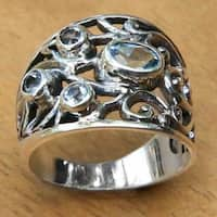 Handmade Sterling Silver 'Tree of Life' Blue Topaz Ring Made In Indonesia