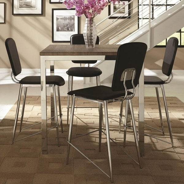 Charmant Silvertorre Chrome Modern Deign 5 Piece Counter Height Dining Set