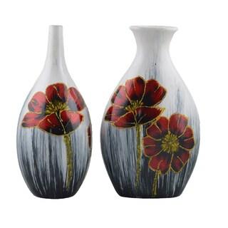 D'Lusso Designs Flora Design Ten Inch Ceramic Vase Duet
