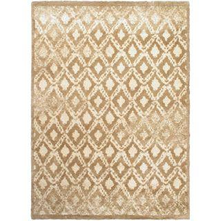 Ecarpetgallery Prestige Beige and Brown Polypropylene Shag Rug (5'5 x 7'7)