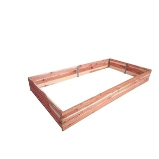 Red Cedar Log Raised Rectangular Garden Bed