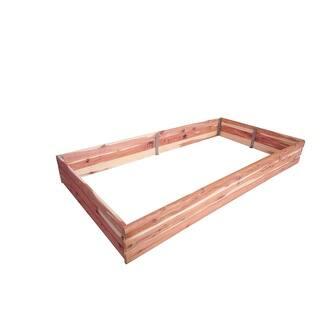 Red Cedar Log Raised Rectangular Garden Bed