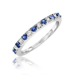 10K Blue Saphire and 0.07ct TDW Diamond Semi Eternity Ring (Size 6.75)