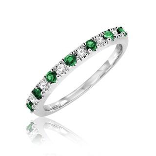 10K Emerald and 0.07 TDW Diamond Semi Eternity RIng (Size 6.75)