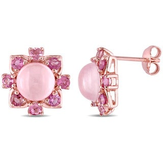 Miadora Rose Plated Silver Rose Quartz and Pink Tourmaline Stud Earrings