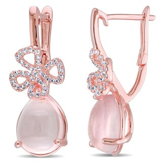 Miadora Rose Plated Silver Rose Quartz and White Topaz Dangle Clover Earrings