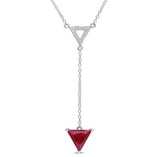 Miadora Sterling Silver Created Ruby and 1/10ct TDW Diamond Triangle Necklace (H-I, I2-I3)