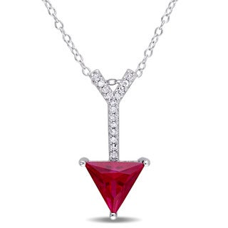 Miadora Sterling Silver Created Ruby and Diamond Accent Arrow Necklace