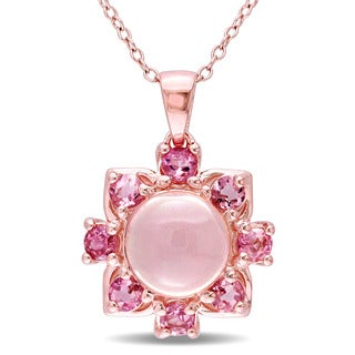 Miadora Rose Plated Silver Rose Quartz and Pink Tourmaline Necklace