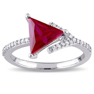 Miadora Sterling Silver Created Ruby and 1/6ct TDW Diamond Arrow Ring (H-I, I2-I3)