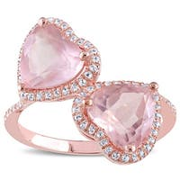 Miadora Rose Plated Silver Rose Quartz and White Topaz Double Heart Halo Bypass Ring
