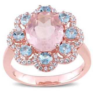 Miadora Rose Plated Silver Multi-color topaz and Rose Quartz Cocktail Flower Ring