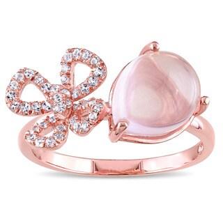Miadora Rose Plated Silver Rose Quartz and White Topaz Clover Ring