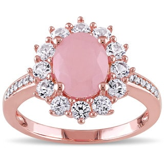 Miadora Rose Plated Silver Guava Quartz and Created White Sapphire with Diamond Accent Halo Flower Ring
