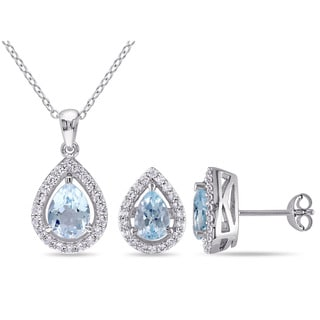 Miadora Sterling Silver Pear-cut Sky Blue Topaz and Created White Sapphire Halo Teardrop Necklace and Stud Earrings 2-Piece Set