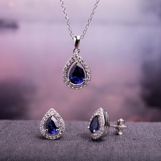 Miadora Sterling Silver Pear-cut Created Blue and White Sapphire Halo Teardrop Necklace and Stud Earrings 2-Piece Set