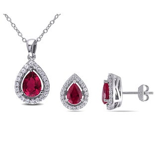 Miadora Sterling Silver Pear-cut Created Ruby and Created White Sapphire Halo Teardrop Necklace and Stud Earrings 2-Piece Set